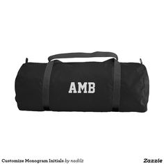Customize Monogram Initials Gym Bag @zazzle #fashion #style #simple #minimal #gym #bag #work #out #fitness #athletics #exercise #organize #chic #products #zazzle #monogram #products #buy #shop #sale #shopping #customizable #personalize #name