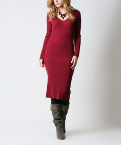 Another great find on #zulily! Wine Ribbed Knit Sweater Dress #zulilyfinds