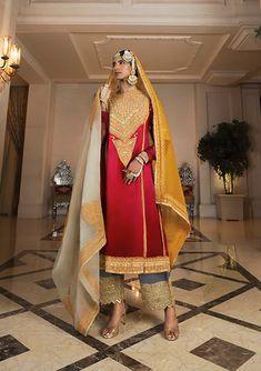 Red Kurta set with gold and silver zari work   Manish Malhotra Red Kurta, Nikkah Dress, Manish Malhotra, Indian Designer Outfits, Sari, Bride, Silver, Gold, Clothes