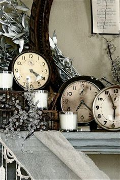 The Adventures of Elizabeth - clocks on the Christmas mantel