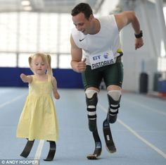 Oscar Pistorius is a boss. South African runner fought to compete against able-bodied athletes and made it to an Olympic semi. Also, he has an accent, wears nerd glasses, and has literary tattoos. AND TEACHES BABY AMPUTEES TO RUN. I love this picture.