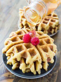 Crispy Whole Grain Honey Cornbread Waffles | veggieandthebeastfeast.com