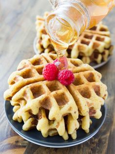 Crispy Whole Grain Honey Cornbread Waffles | veggieandthebeastfeast.com