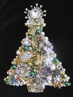Vintage Jewelry Christmas Tree Collage Decorative Wall Art Joyeux Noel