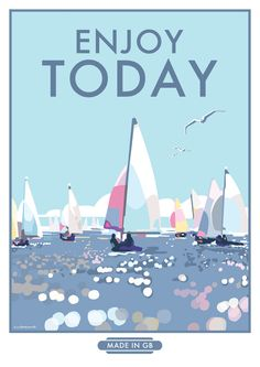 Enjoy Today #seaside #vintage style #travel poster prints and posters available at http://beckybettesworth.myshopify.com/collections/quotes/products/enjoy-today