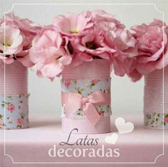 Cheap flower holder for a little girls tea party Tin Can Crafts, Diy And Crafts, Party Deco, Craft Projects, Projects To Try, Pot A Crayon, Deco Table, Paper Flowers, First Birthdays