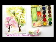Fun easy paintings easy and fun tutorial on how to paint a beautiful spring tree watercolor . Tree Watercolor Painting, Watercolor Paintings For Beginners, Watercolor Art Landscape, Watercolor Art Lessons, Easy Watercolor, Easy Paintings, Watercolor Flowers, Tree Paintings, Knife Painting