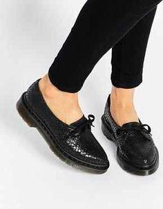 5191e5bbc6e8 Shop Dr Martens Core Siano Black Snake Flat Shoes at ASOS.