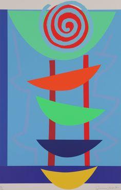 Orange green and blue rhythm Silkscreen Print by Sir Terry Frost