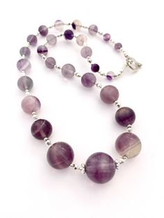 Purple Fluorite Beaded Gemstone Necklace, Purple Jewellery, Fluorite Semi Precious Natural Stone Jewelry, Crystal Jewellery, Graduated by PreciousHCJewellery on Etsy