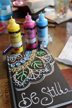 puffy paint on journal