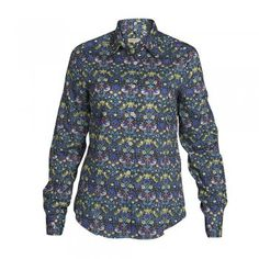 A beautiful shirt printed with green and blue flowers and birds. The style is tailored at the waist, but a classic fitting shirt and is the perfect garment for your Summer wardrobe. Features include button through placard and wolfhound embroidery on the chest.