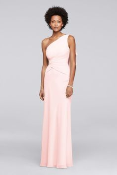 One Shoulder Chiffon Long Bridesmaid Dress - Petal (Pink), 2