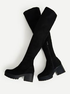 Shop Side Zipper Over Knee Platform Boots online. SheIn offers Side Zipper Over Knee Platform Boots & more to fit your fashionable needs.