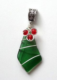 Sea Glass Christmas Holly Pendant by oceansbounty on Etsy
