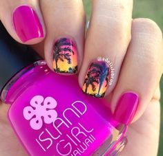 Magenta nails with sunset and shadows of Palm trees