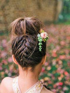 Braided high bun. This amazing bun is both contemporary and romantic. Image: Instagram/@wedding_hairimg #wedding #hair