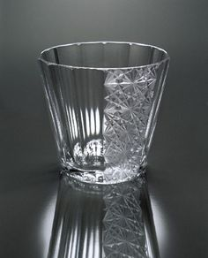 Modern Edo Kiriko glassware by Toru Horiguchi, Japan (Edo Kiriko is a Japanese traditional glassware and its origin dates back to 1834 in the Edo period, used emery powder to produce glassware engraved with patterns)