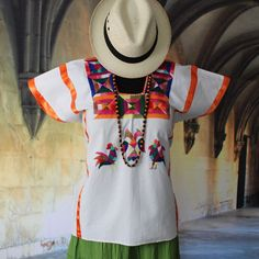 Hand Embroidered Huipil Roosters Huazolotitlan Oaxaca Mexico Hippie Boho Peasant #Handmade #Huipiltunic