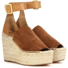 Chloé Suede and Leather Wedge Espadrilles (510 CHF) ❤ liked on Polyvore featuring shoes, sandals, heels, wedges, espadrilles, brown, wedge heel sandals, brown leather sandals, brown sandals and espadrille wedge sandals