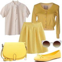 Outfit in stile bon ton per chi adora il giallo ed ha tanta voglia di sole. Maglioncino corto in vita con scollo profondo e bottoni gioiello, camicia con collo alla coreana impreziosita da piccole rouches, gonna in jacquard con pieghe sul davanti. Borsa e ballerine nel colore del sole ed occhiali da sole con forma a farfalla.