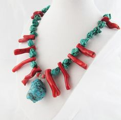 Chunky Blue Turquoise Red Branch Coral & Blue Howlite by wrenflair, $130.00