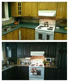 """Before/after kitchen transformation for under $300! Rustoleum cabinet transformations and handpainted faux granite counters! Love my """"new"""" kitchen!!"""