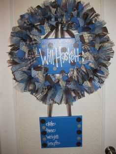 Custom Boutique Baby Wreaths, Birth Announcements, and Hospital Door Hangers. $75.00, via Etsy.