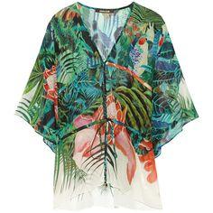 Roberto Cavalli Printed silk-georgette kaftan (€530) ❤ liked on Polyvore featuring tops, tunics, green, caftan tunic, green tunic, sheer top, kaftan tops and roberto cavalli tunic
