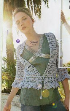Crochet bolero, cardigan, jacket  Летний легкий прозрачно-невесомый жакет с баской. Обсуждение на LiveInternet - Российский Сервис Онлайн-Дневников