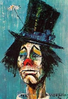 "Love this painting by Rose Fernandez Diaz, it's called ""clown au chapeau"". My parents had a copy of it in our house when I was younger."