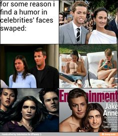 Celebrity face swap lol just so funny Funny Pictures Can't Stop Laughing, Funny Pictures With Captions, Laughing Face, Laughing So Hard, Face Swaps, Celebrity Faces, Have A Laugh, Awkward Moments, Funny Faces