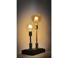 Awesome Steampunk Table Lamp Made from Vintage Medical Plugs  #Bedroom #Bedside #DIY #Edison #Handmade #Industrial #Metal #Recycled #Rustic #simple #Steampunk Lamp design outcome of a former plug for air vacuum-oxygen in Hospitals. It is upcycled with electric fabric vintage cord in brown color and two E27 a...