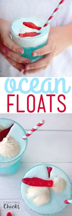 Floats - a Fun Summer drink! Fruity juice, lemon soda and ice cream are all you need to make our fizzy, festive and fun Ocean Floats!Fruity juice, lemon soda and ice cream are all you need to make our fizzy, festive and fun Ocean Floats! Kid Drinks, Non Alcoholic Drinks, Cocktails, Shark Week Drinks, Shark Snacks, Drink Recipes Nonalcoholic, Summer Beverages, Drinks Alcohol, Diy Spring