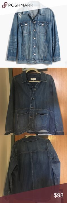 Madewell Jean Jacket Shirt Different than main pic!! Only worn once!! It's oversized and super comfy. Will accept any reasonable offer! Madewell Jackets & Coats Jean Jackets