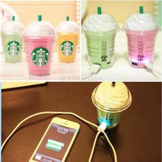 FREE SHIPPING Pink Starbucks Crystal Phone Charger