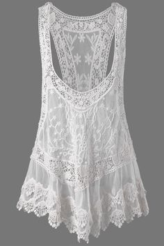 64f20811691  11.70 Low Cut Cutwork Racerback Tank Top - White Lace Outfit