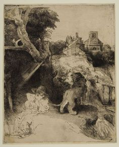 Rembrandt van Rijn –  Saint Jerome Reading in an Italian Landscape, 1653/54, Etching | Harvard Art Museums