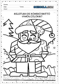 Desenhos do Natal para Colorir: Papai Noel Romero Britto — SÓ ESCOLA