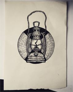 #Tattoo Quick old lantern drawing - archival ink pen KUPFERSTICH , Click to See More...