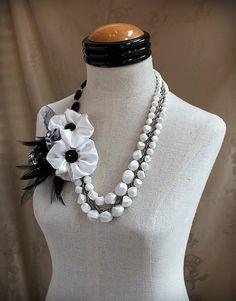 Bianco e nero palla istruzione Wearable Art mista collana multimediale