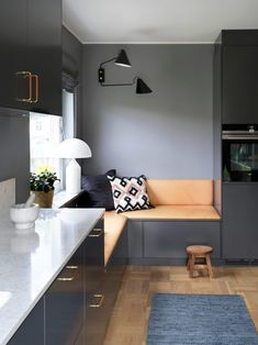 Built in custom kitchen corner nook with lovely leather cushions. World Of Interiors, Small Living, Living Spaces, Living Room, Ikea I, Tiny Apartments, Compact Living, Space Saving Furniture, Rooms Furniture