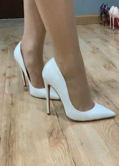Very High Heels, Pink High Heels, White Heels, Sexy Heels, High Heel Pumps, Pumps Heels, Stiletto Heels, Pantyhose Heels, Stockings Heels