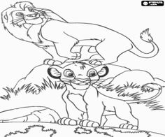 Simba with his father Mufasa, the Lion King coloring page