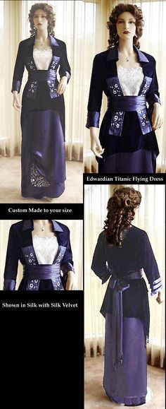 """Edwardian Titanic Flying Gown Costume CUSTOM MADE by Christine Hall. This is your chance to have a fabulous Edwardian Style Movie gown costume reproduced especially to your measurements by stellar Victorian seamstress, Christine Hall! """"This stunning Edwardian Flying dress is made entirely of beautiful navy silk velvet and navy silk satin/charmeuse."""""""