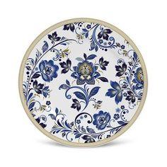 Prato Sobremesa Flat Classic Porto Brasil Cerâmica Azul Ø 20cm