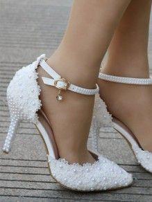 Femmes blanches mariage fête mariée talon aiguille nœud dentelle platforml Sandales SZ