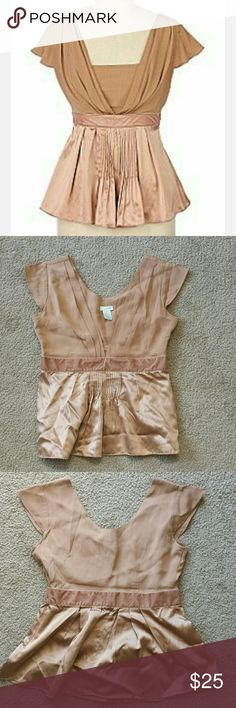 AnthropologiOdille Matheson Silk Blouse Top Size 2 Gorgeous nude silk blouse with velvet band empire waist.  Bust, armpit to armpit: 16 inches Empire waist beneath bust: 13.75 inches Length from shoulder to bottom of blouse: 22 inches. Anthropologie Tops