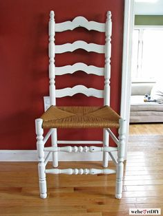 Wood painted wood, cane seat, ladder back side chair. Woven Dining Chairs, Dining Room Chairs, Dining Room Furniture, Furniture Decor, Painted Furniture, Furniture Design, Kitchen Table Redo, Painted Kitchen Tables, Restoring Old Furniture