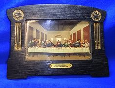 Art Nouveau Wood Picture Frame with Christianity Last Supper Print #AD